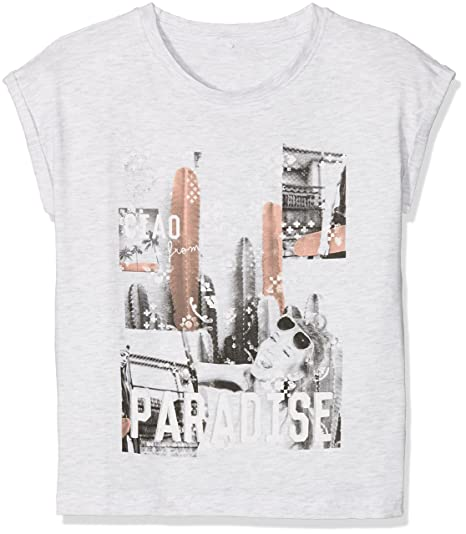c64c4ff0 Name It Girl's Nkfkota Ss Top T-Shirt, (Light Grey Melange), 122 (Size:  122-128) (Manufacturer size:: Amazon.in: Clothing & Accessories