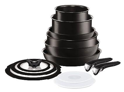 Tefal Ingenio Talent Set de 6 Piezas con Dos Mangos, Aluminio, Negro, 28 cm