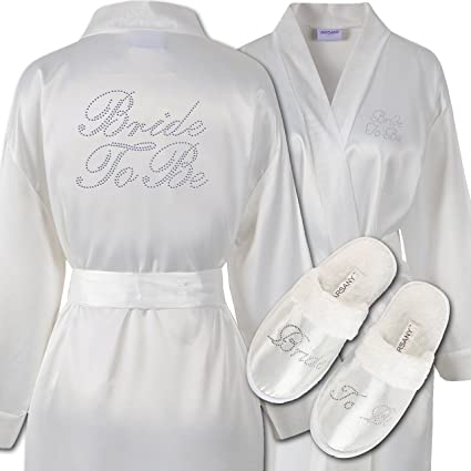 b8f700775 Varsany Ivory Rhinestone Bride To Be Satin Bridal Dressing Gown & Spa  Slipper wedding Personalised hen party gift set (2): Amazon.co.uk: Kitchen  & Home