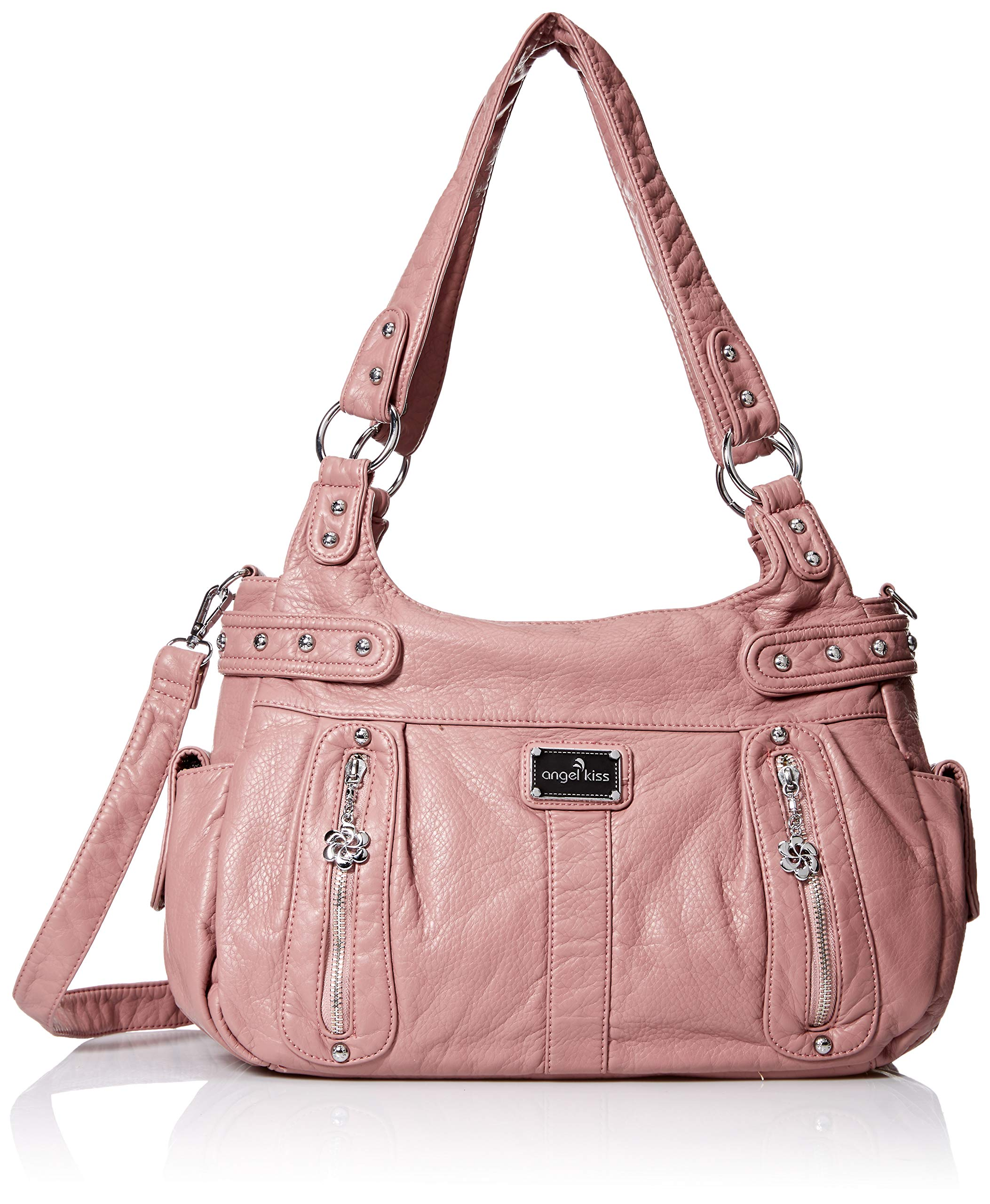 0aac572db88 Angelkiss Design Handbags Womens Purse Feel Soft Lether Multiple Top Zipper Pockets  Shoulder Bags Large …