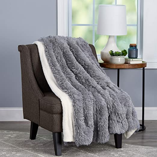 """60x70/"""" Amber Brown Trademark 66A-35035 Bedford Home Throw-Luxurious Hypoallergenic Premium Zobel Marten Sable Fur Blanket with Faux Mink Back and Gift Box"""
