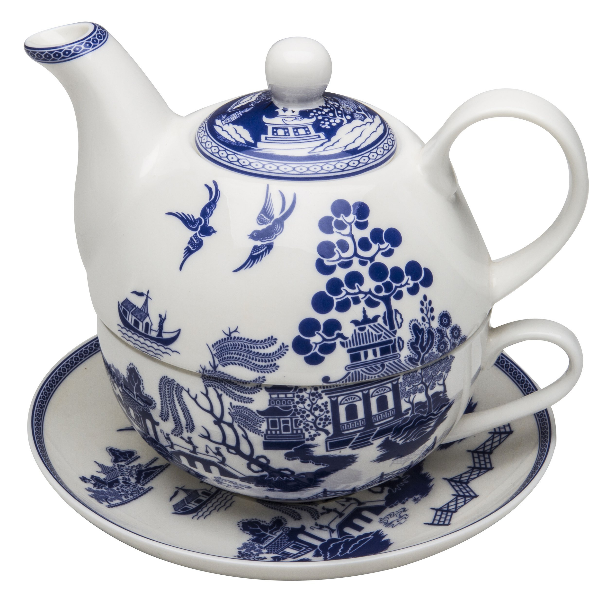 Grace Teaware Porcelain 4-Piece Tea For One (Blue Willow)