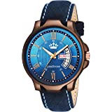 LIMESTONE Wooden Coat Avatar Series Day and Date Functioning Analogue Blue Dial Men's Watch