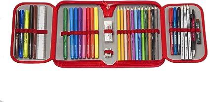 Faber-Castell 573005 - Plumier escolar Grip con cremallera con 12 ecolápices de color Grip, 10 rotuladores y accesorios: Amazon.es: Oficina y papelería