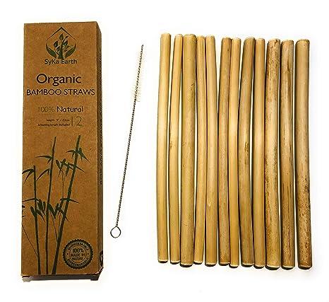 Cannucce Di Bamb.Cannucce Di Bambu Riutilizzabili Premium Eco Compatibile Forte E Durevole 100 Biodegradabile 12 Cannucce Piu Pennello Piu Pulito