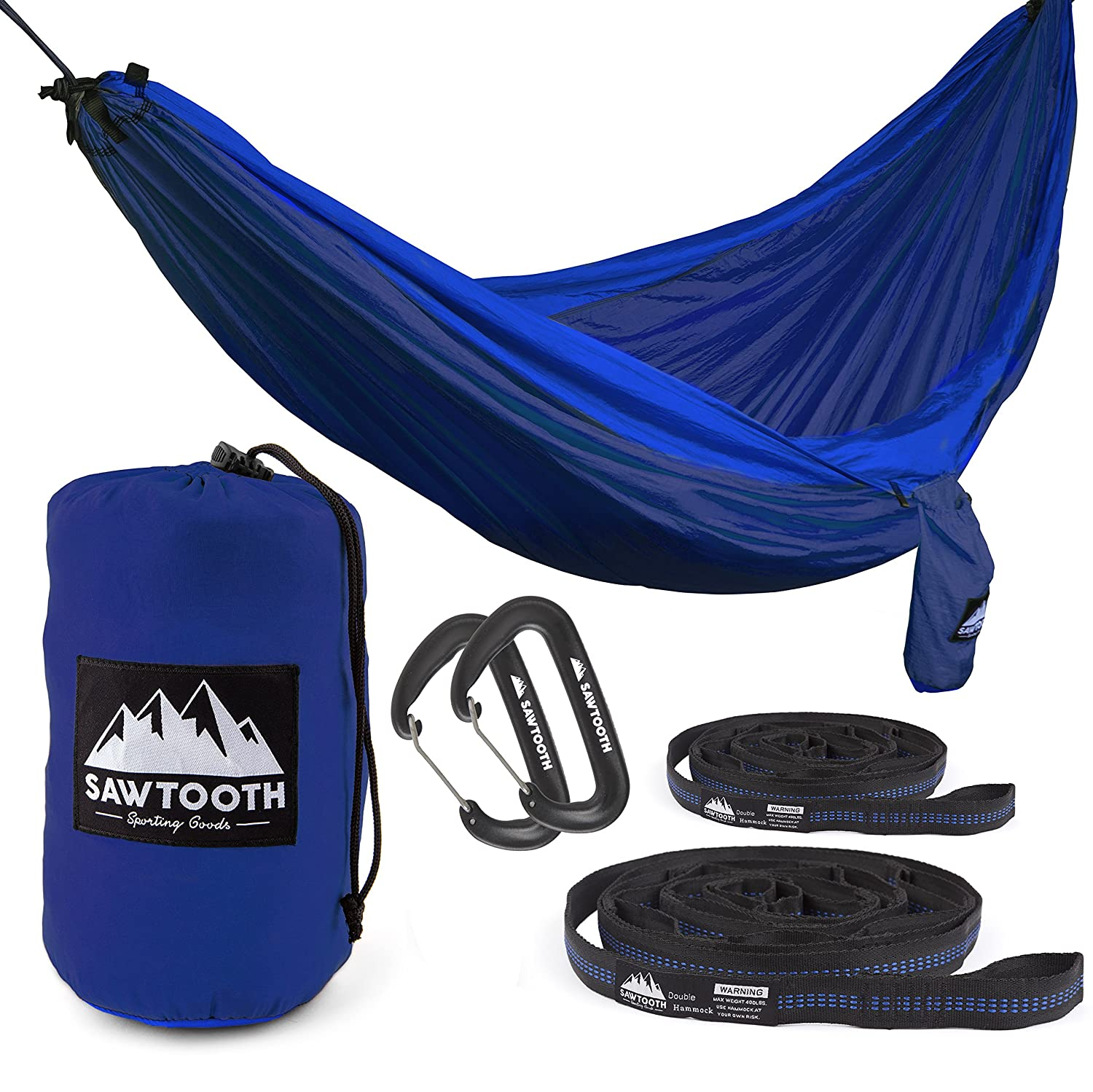 Sawtooth Double Camping Hammock with Tree Straps and Aluminum Carabiners – Complete KIT – Lightweight Portable Parachute Nylon for Backpacking Hiking Travel Beach Park Yard.