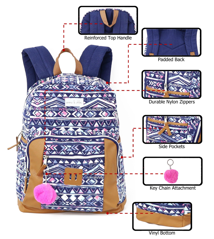 Emma & Chloe Girls Aztec Pom-Pom Vinyl-Base Cotton Backpack (One Size, Aztec Navy) by Trail maker (Image #6)