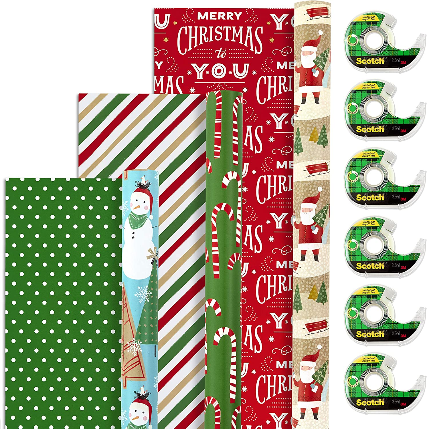 Hallmark Reversible Christmas Wrapping Paper (3 Rolls, 120 sq. ft. ttl.) and Scotch Brand Magic Tape (6 Dispensered Rolls, 3/4 x 650 in, 3900 in. ttl.) Gift Wrap Set