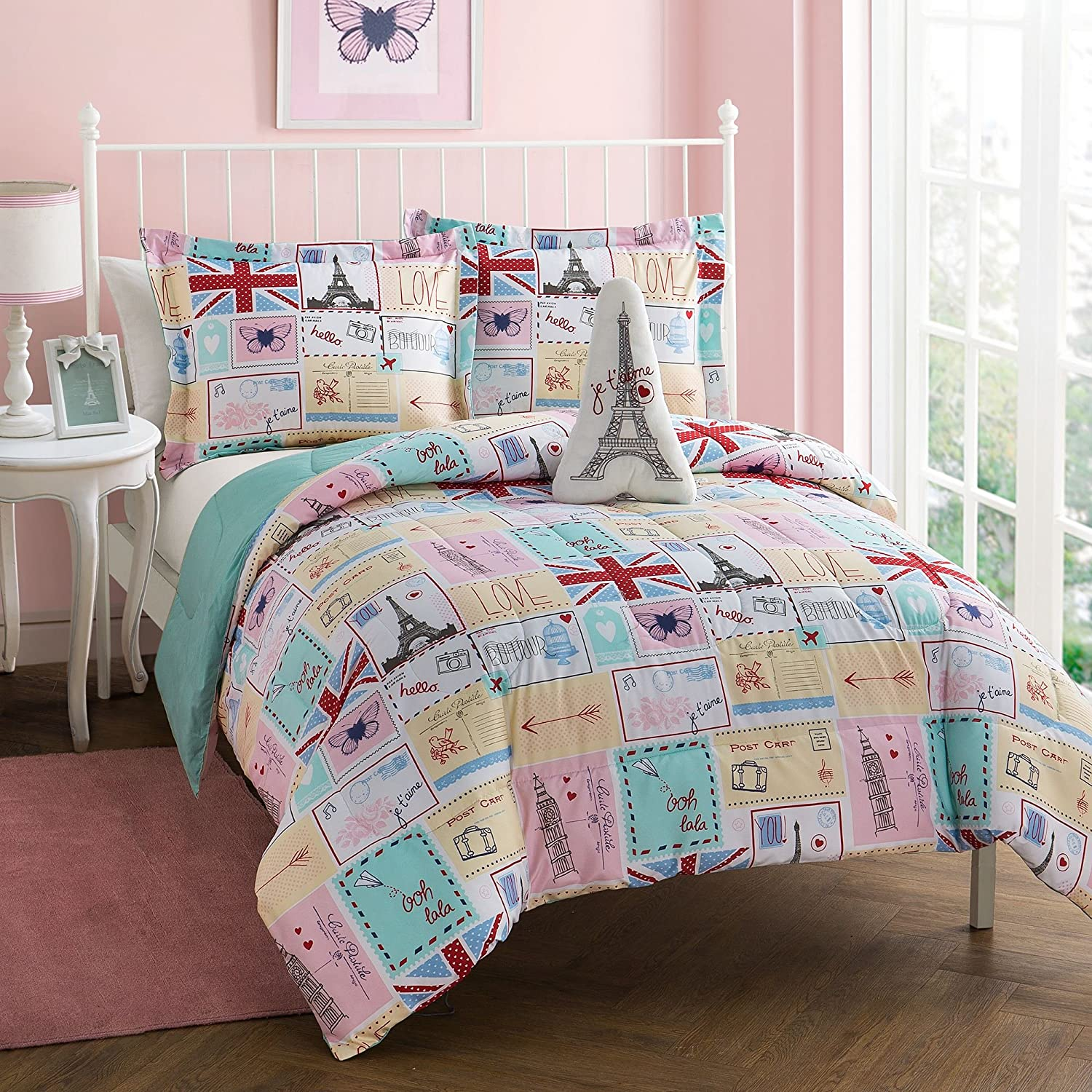 BonJour 3-Piece Comforter Set French Country Style, Featuring Postcards, Butterflies, and Hearts Aqua with Pops of Red and Navy, Pink, Twin, Full