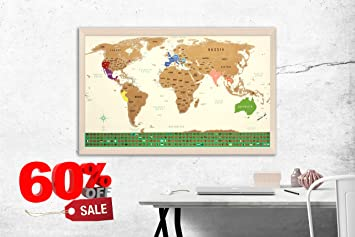 scratch off map of the world with us states outlined large 34 5