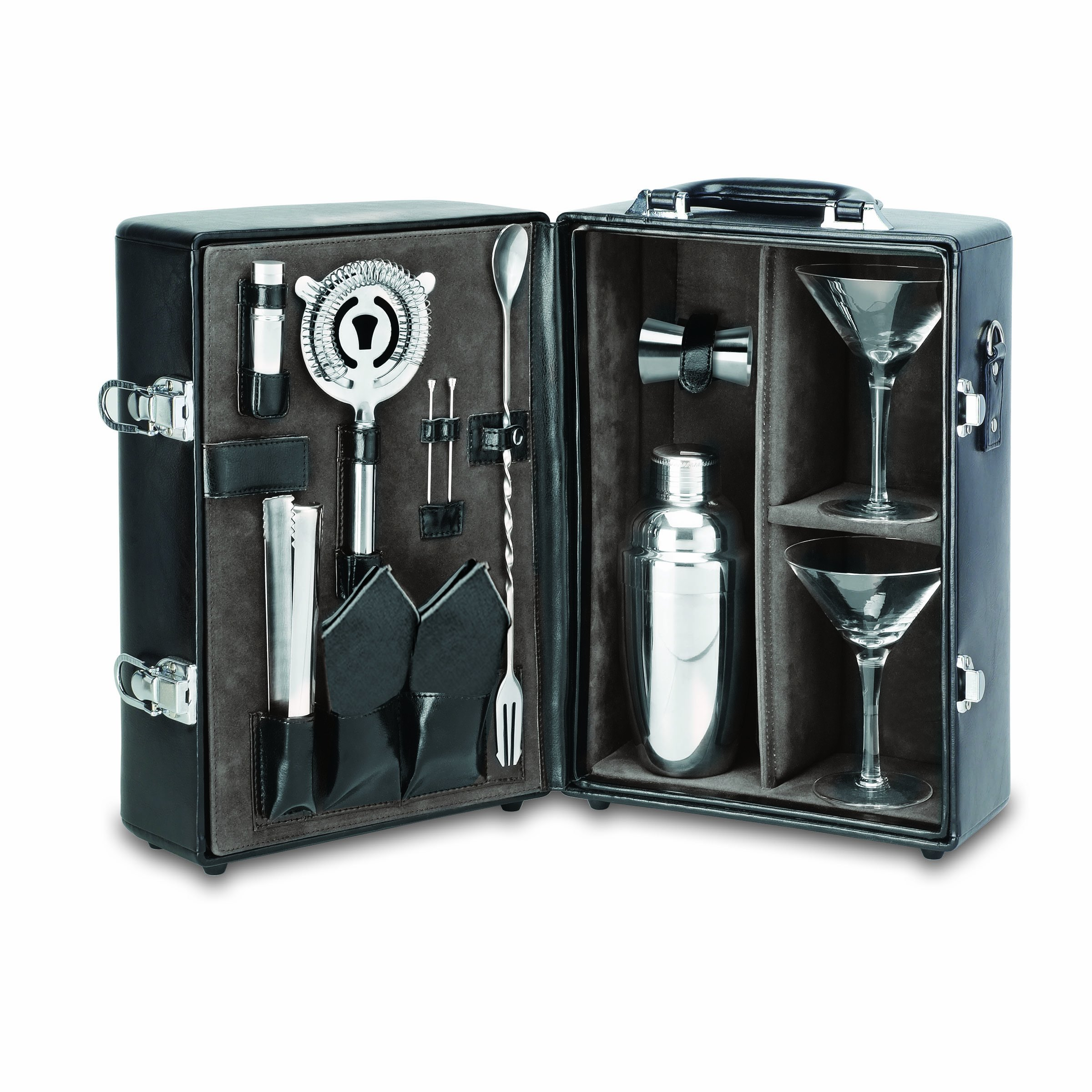 Picnic Time Manhattan Insulated Two-Bottle Cocktail Set, Black