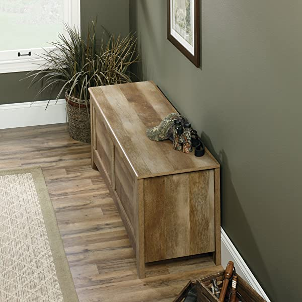 "Sauder 419343 East Canyon Gun Storage Bench, L: 53.15"" x W: 18.11"" x H: 21.22"", Craftsman Oak finish"