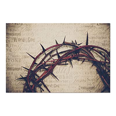 Crown of Thorns with Jesus Names & Attributes on Antique Paper 9012667 (Premium 1000 Piece Jigsaw Puzzle for Adults, 20x30, Made in USA!): Toys & Games