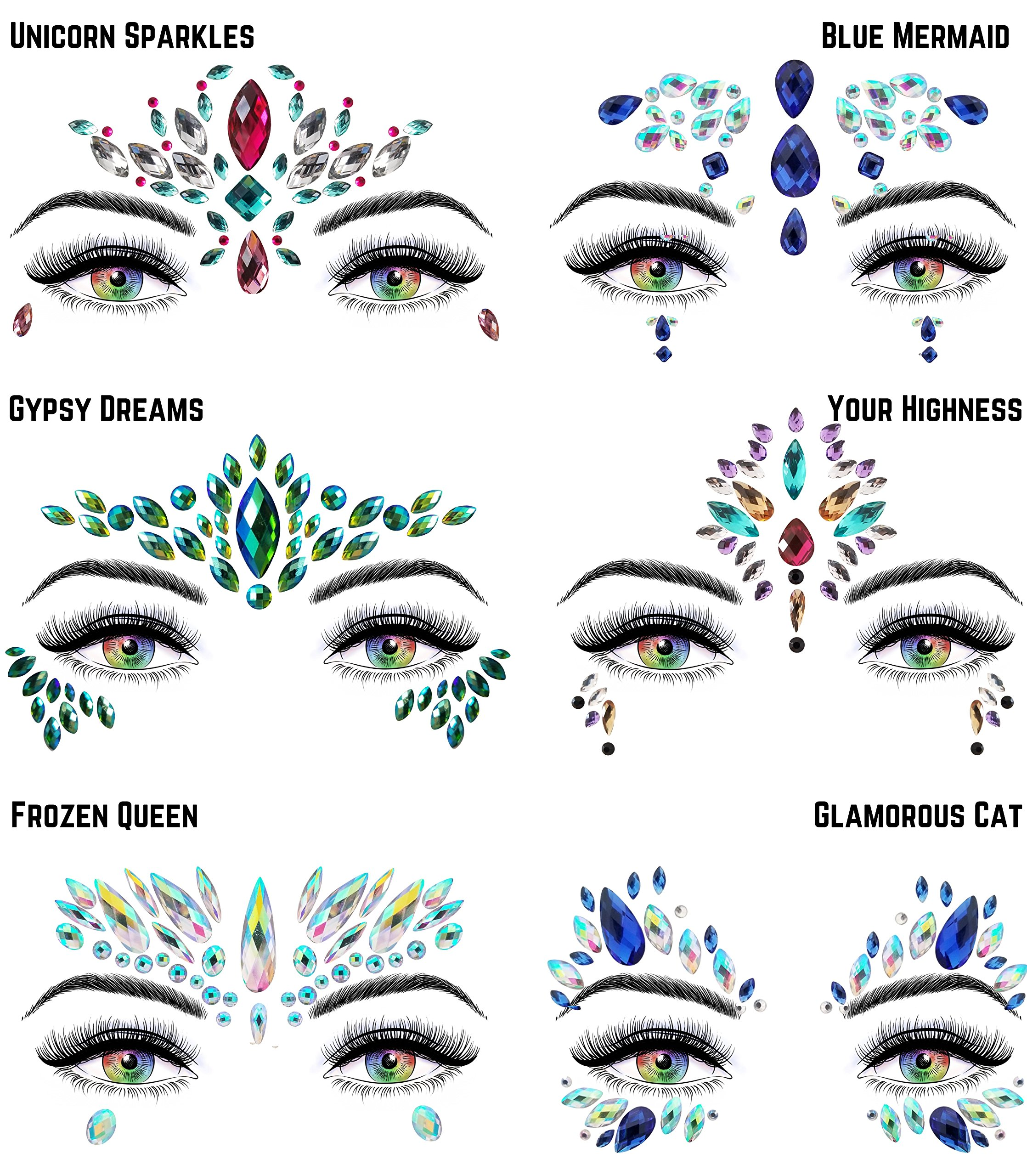 6 Stick On Face Jewels Sets, Gems, Glitter, Gem-Stones, Rhinestones Stickers, Temporary Tattoo - Self-Adhesive, Bindi, Indian, Mermaid Crystals. Accessories For Body, Women, Festivals, Rave, or Party by Luxxe Hour (Image #8)