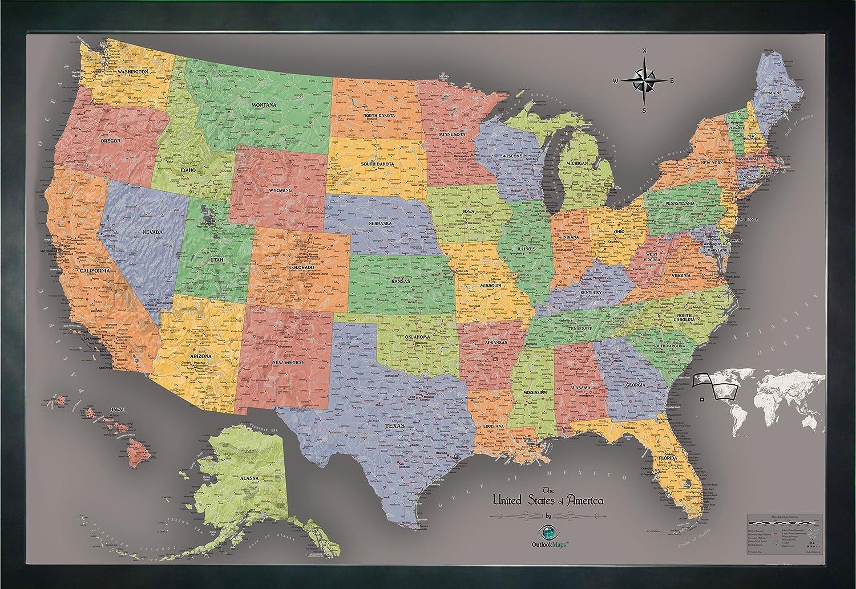 Amazon Com Homemagnetics 33 X 22 Modern Usa Magnetic Map Home