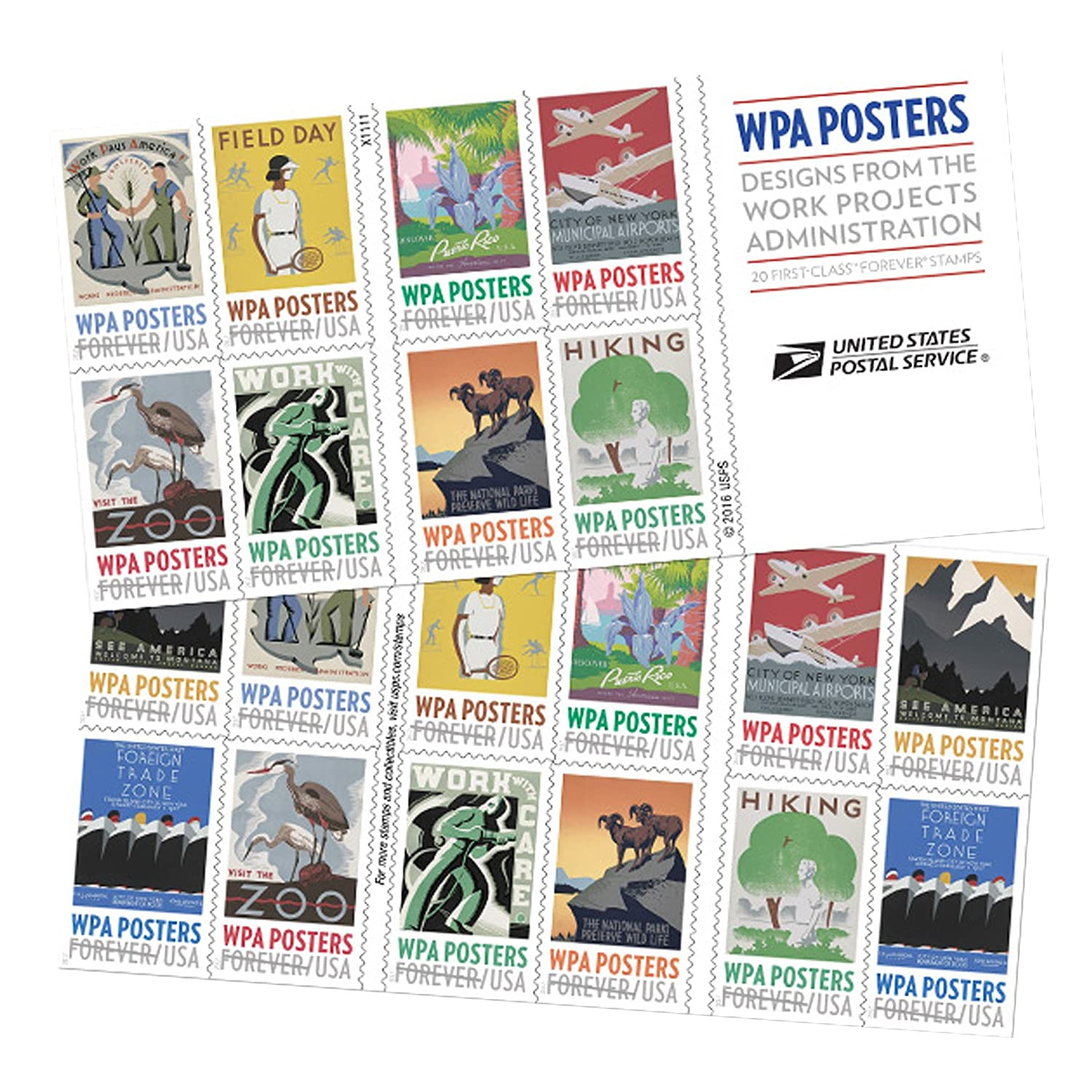 1 book of 20 stamps WPA Posters book of 20 Forever USPS Postage Stamp Work Projects Administration