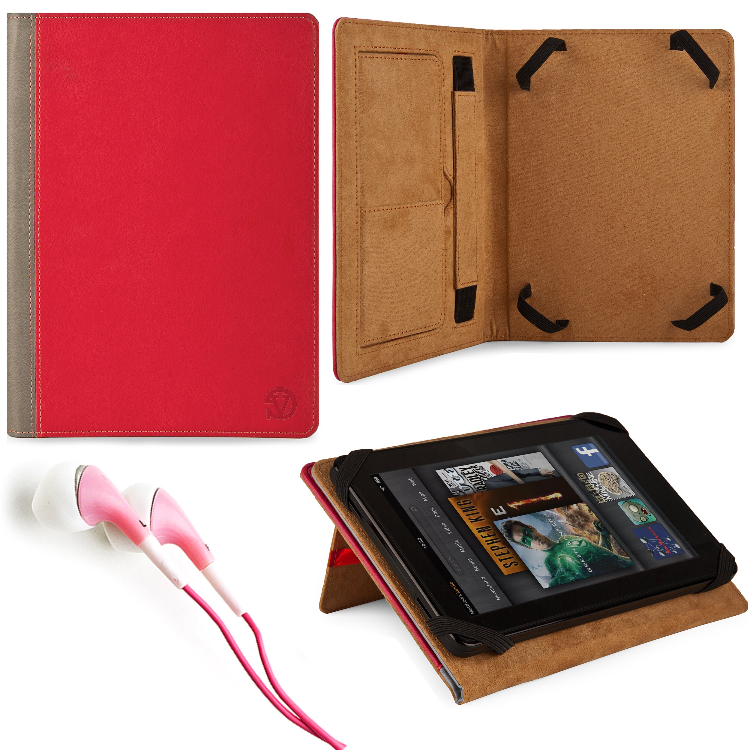 Marry Edition VG Brand Folio Stand Alone Protective Leatherette Carrying Case Cover Case Cover-(2 Tone Pink & Gray) for Acer Iconia TAB A100-07U08U / A110-07g08u 7-inch Android Tablets + Pink Stereo Hifi Noise Isolating Premium Headphones with Silicone Ea