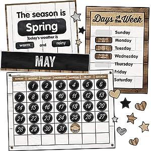 Schoolgirl Style Industrial Chic Bulletin Board Set, Calendar (110398)