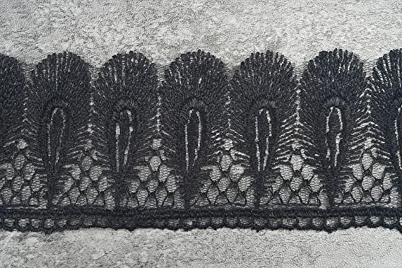3 Meter lang Vintage Pfau featherd Stil Schwarz Bestickt Spitzenbesatz Band ca 6,0 cm Breite Schwarz JX40412 Full Drei