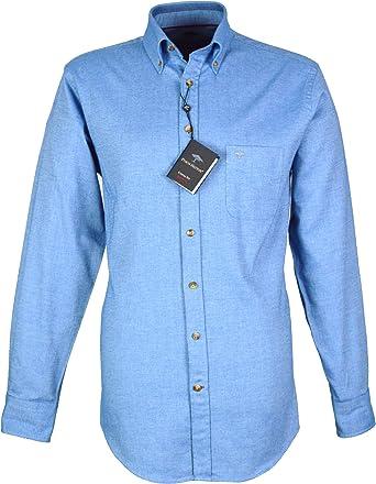 Fynch Hatton - Camisa Casual - con Botones - para Hombre Azul Azul Claro Medium: Amazon.es: Ropa y accesorios