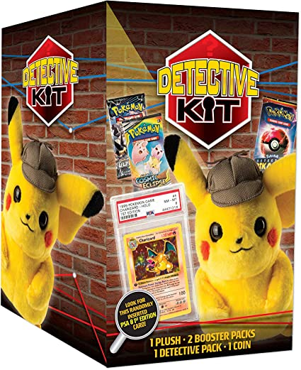 Amazon Com Pokemon Tcg Detective Pikachu Plush Doll Kit 1 Pikachu Plush Doll 2 Booster Packs Chance To Find 1st Edition Charizard Genuine Cards Multicolor