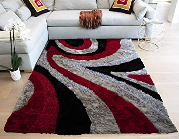 La 8 X10 Feet Red Black Silver Grey Gray Two Tone Colors Abstract Shag Shaggy Area Rug Hand Woven Tufted 3 Dimensional Yarns Thick Pile Fluffy Fuzzy