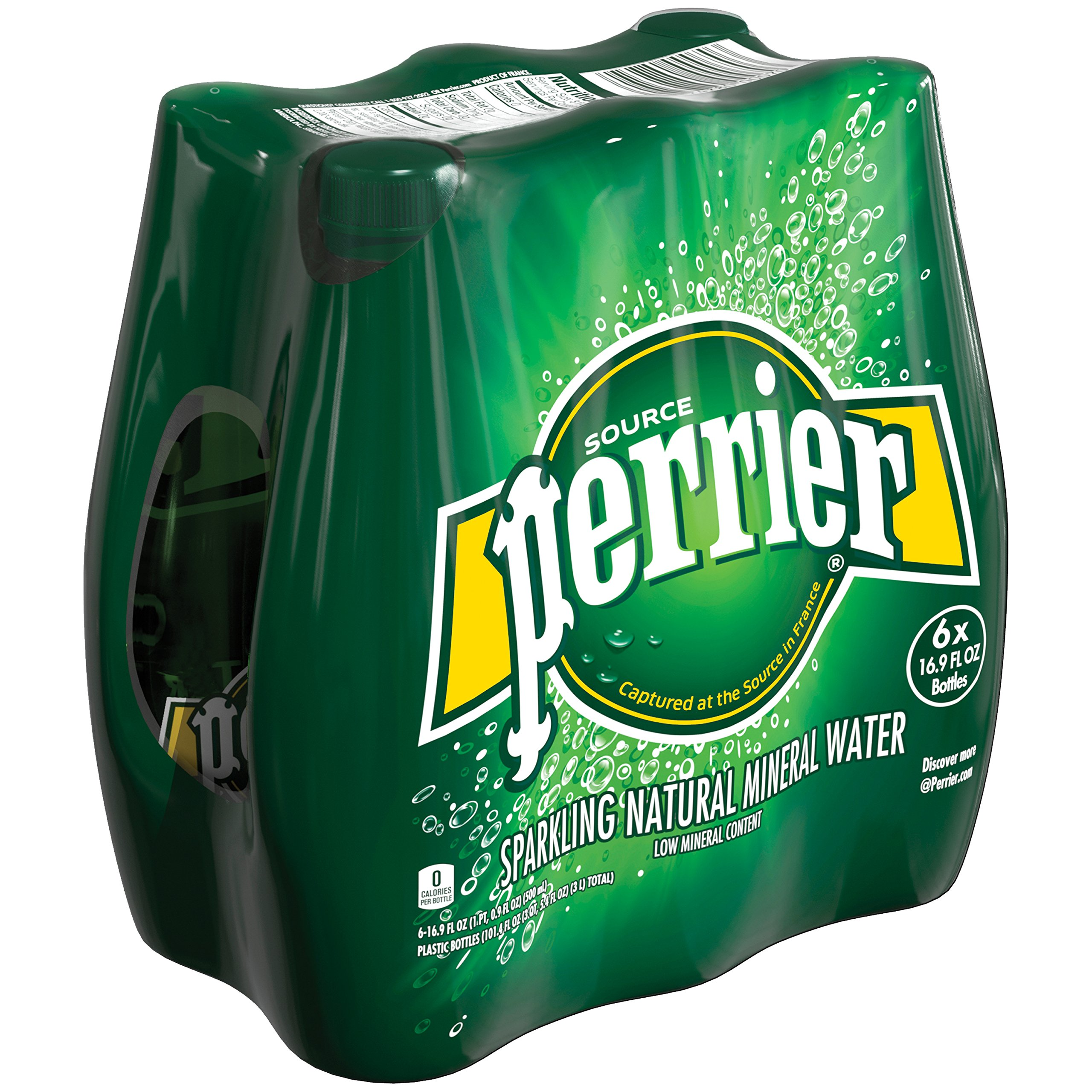 Perrier Carbonated Mineral Water, 16.9 fl oz. Plastic Bottles (6 Count)