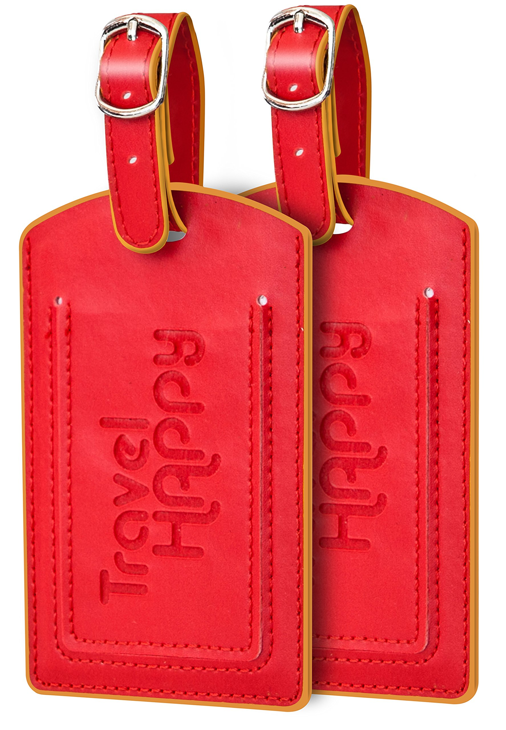 Bellerina Luggage Tags. Set of 2. Emperor Red. Easy to Spot, Stylish with Privacy Cover For Bags