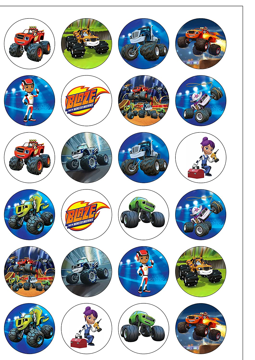 24 Precut 40mm Round Blaze and The Monster Machines Edible Wafer Paper Cake Toppers Orange Trading