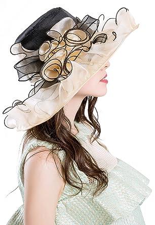 ROYOU YIUOER Kentucky Derby Hats for Womens Organza Fascinator British Tea  Party Wedding Dress Cap Mysterious 6bc0c5b227f
