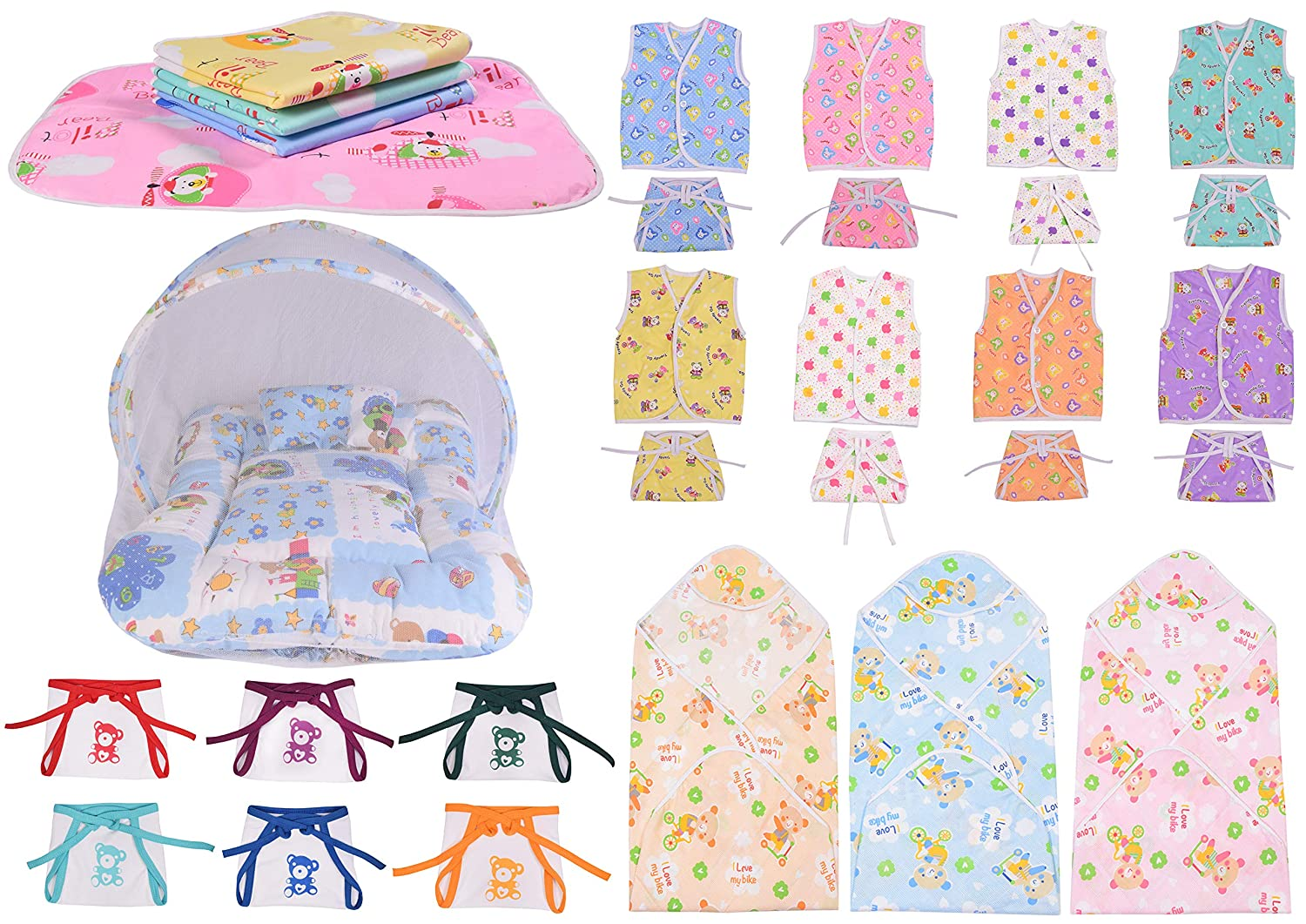 Baby Fly New Born Baby Combo of 8 Cotton Jhabla with 8 Cotton Nappies, 1 Net Bed, 6 Hosiery Nappies, 3 Blankets for Baby and 4 Plastic Mat Waterproof (0-6 Months)