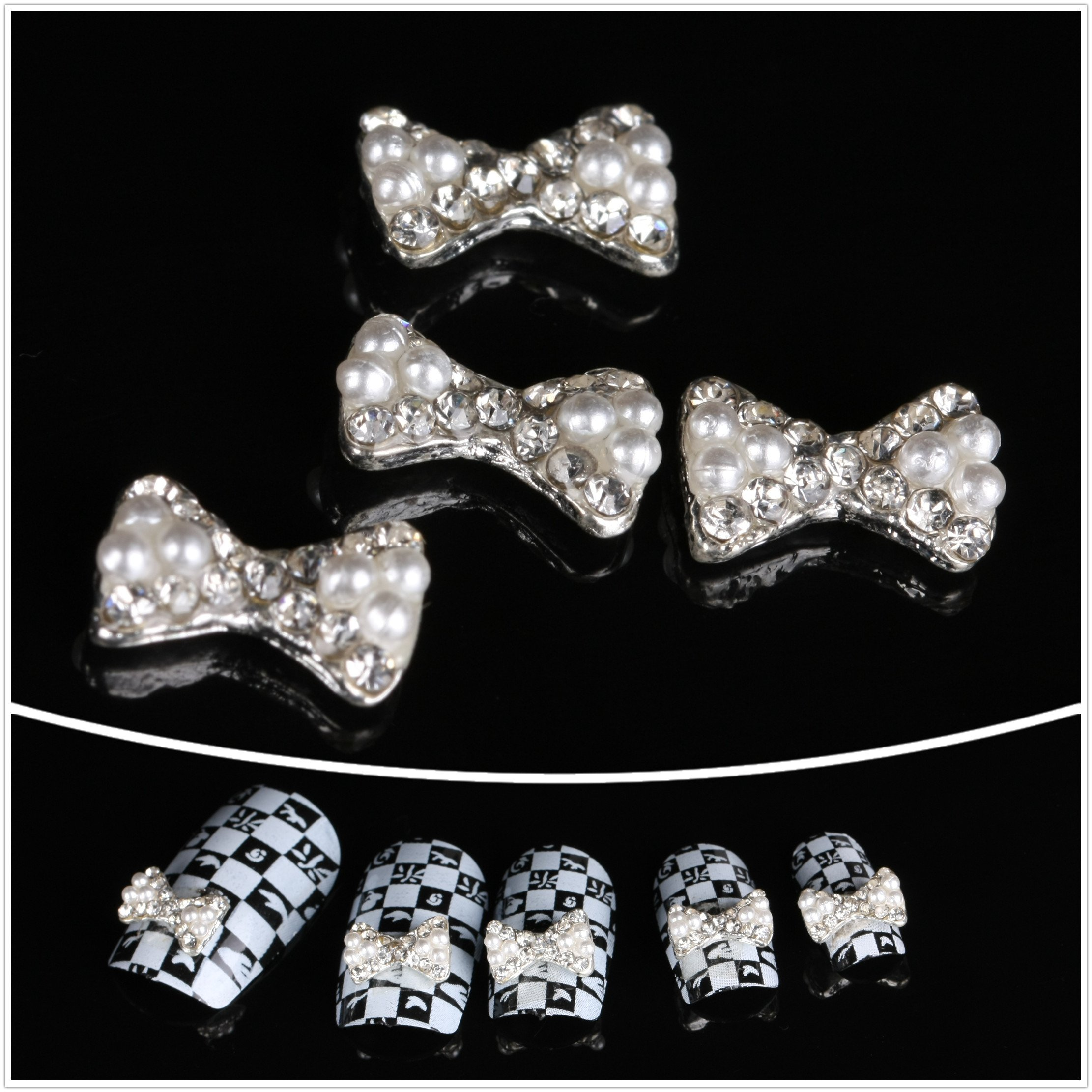 BTArtbox 10x3D White Pearls Nail Art Decorations Clear Crystal Bow Tie Reusable DIY Decorations by BTArt-Decals