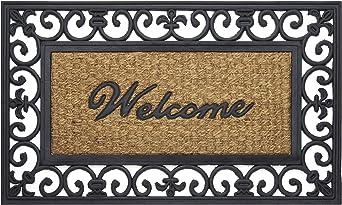 Achim Home Furnishings Wrm1830fl6 Wrought Iron Rubber Door Mat 18 By 30 Black Brown Garden Outdoor