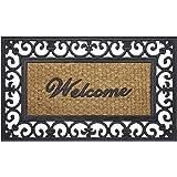 "Achim Home Furnishings WRM1830FL6 Wrought Iron Rubber Door Mat, 18 by 30"", Black/Brown"