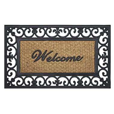 Achim Home Furnishings WRM1830FL6 Fleur De Lis Wrought Iron Rubber Door Mat, 18 by 30