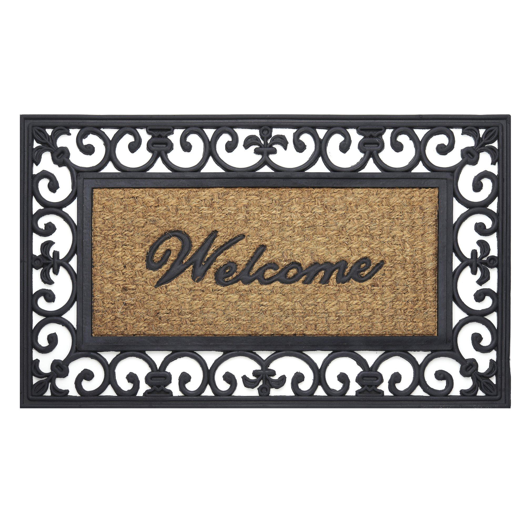 Achim Home Furnishings WRM1830FL6 Fleur De Lis Wrought Iron Rubber Door Mat, 18 by 30''