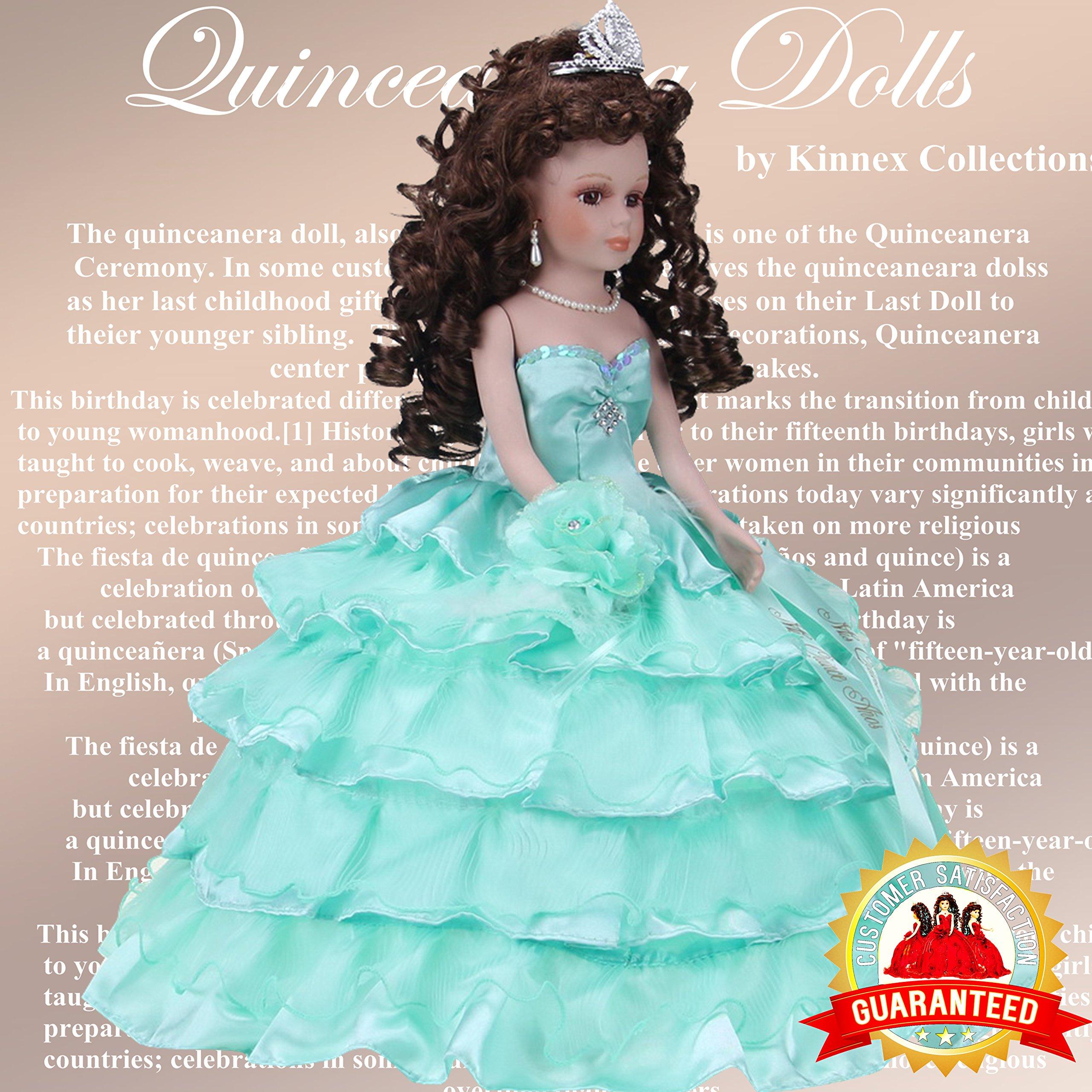 Kinnex Collections by Amanda 18'' Porcelain Quinceanera Umbrella Doll (Table Centerpiece)~ Mint ~ KK18729-25