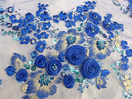 Amazon Blue Sequins Beaded Embroidery 51 Width 3d Rose Lace