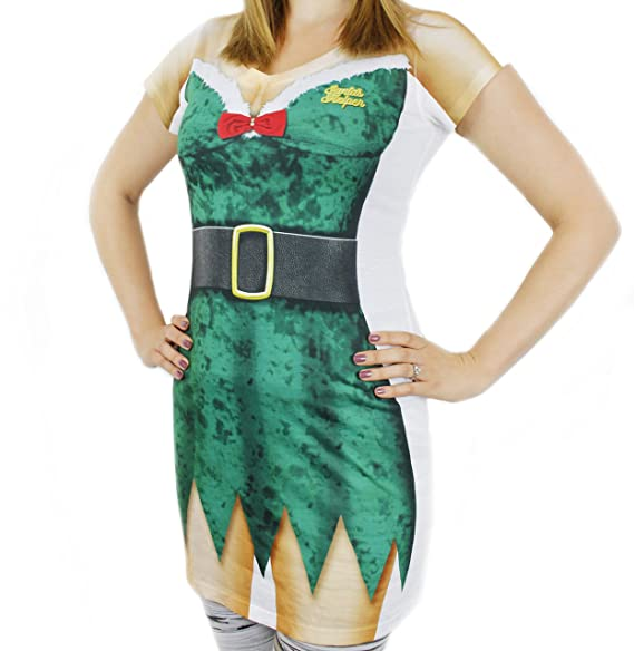ae83fd0c77a2 Women s Ugly Christmas Sweater Long T-Shirt Dress Elf Printed Size Medium