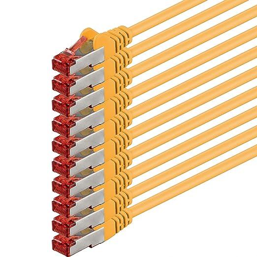 28 opinioni per 0,5m- giallo- 10 pezzi- Rete Cavi Cat6 | S-FTP | CAT 6 | doppia schermatura |