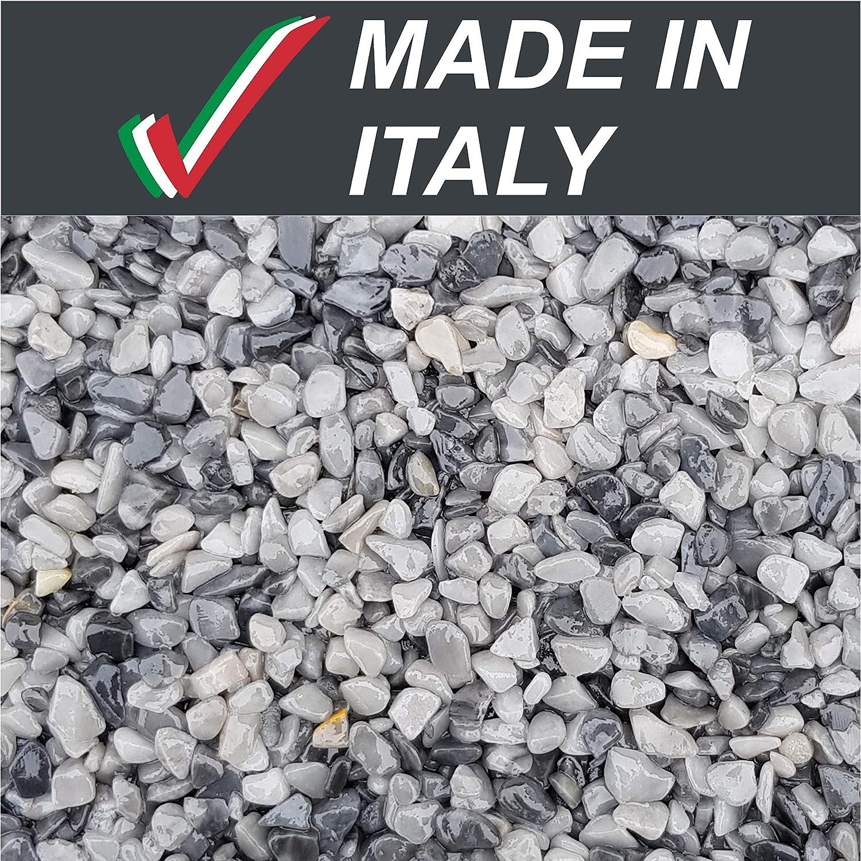 5Kg Graniglia Marmo Pietre Ciottoli Sassi Decorativi Granulati Grigio Occhialino