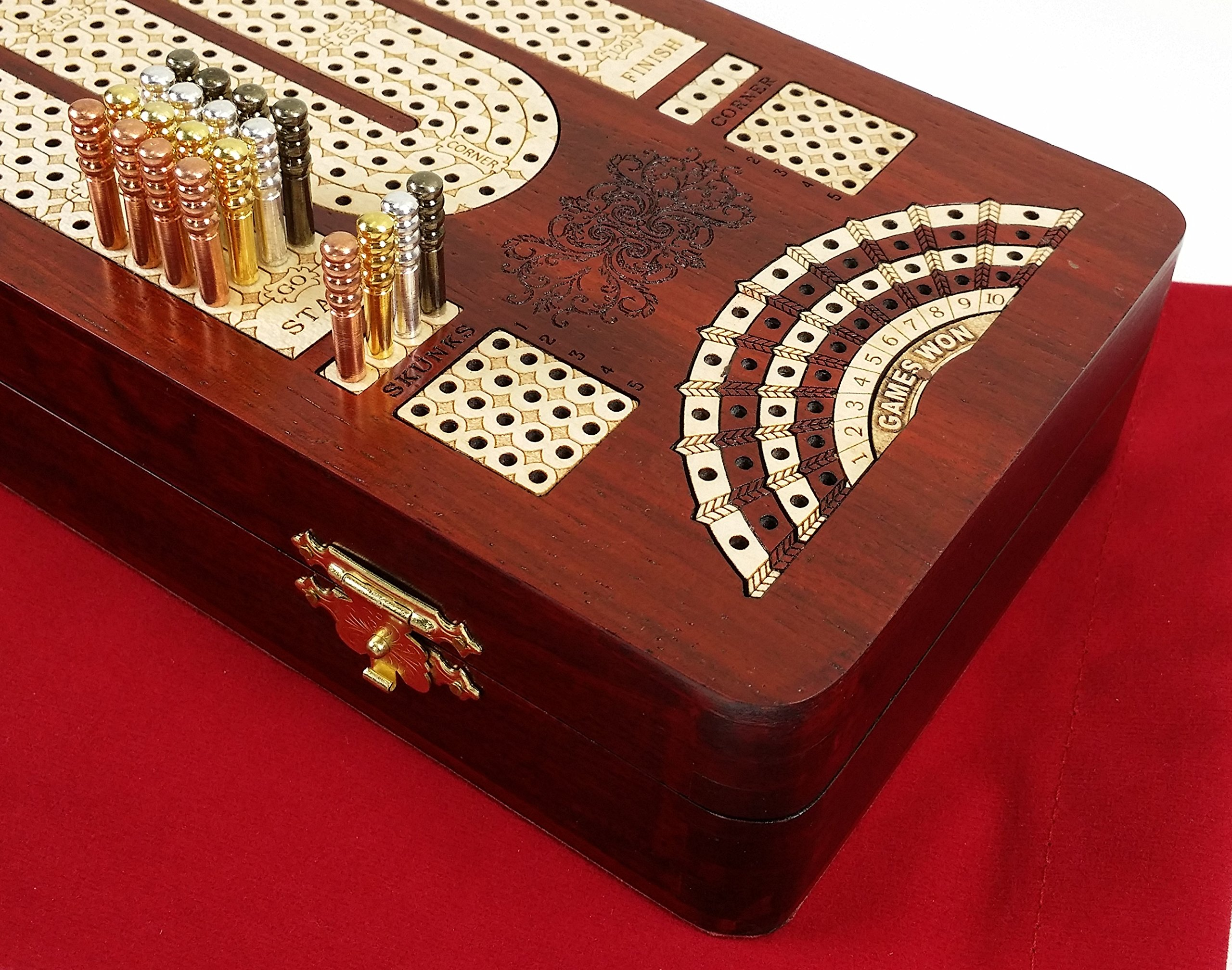 14'' 4 Track Continuous Cribbage Board W/ Card Storage Maple Tracks on Bloodwood - Corner, Skunk & Games Won