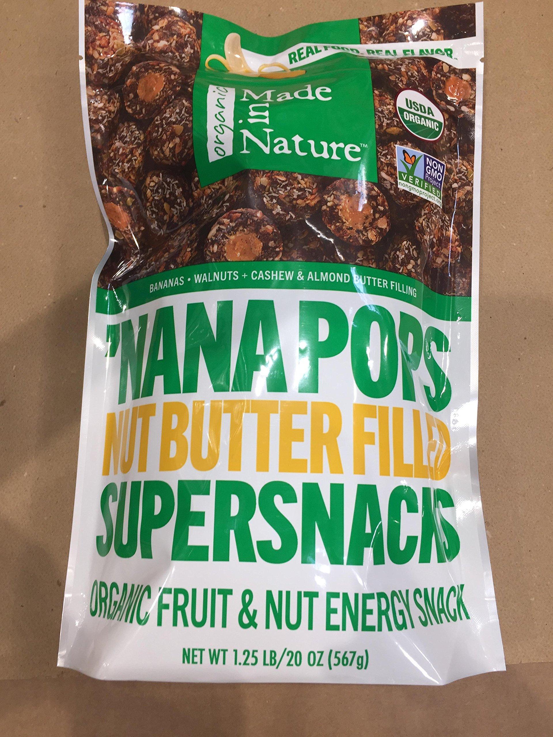 Made in Nature 'Nana Pops Nut Butter Filled Supersnacks, Organic Fruit & Nut Energy Sanck, 1.25 LB, One BAG