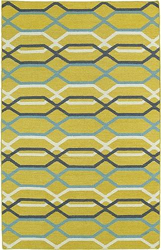 Kaleen Rugs Glam Collection Handmade Flatweave Yellow Rug 2 6 x 8