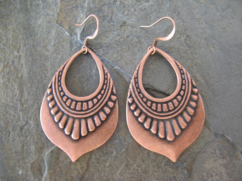 Detailed Metal Copper Plated Hoop Earrings Boho Artisan Jewelry