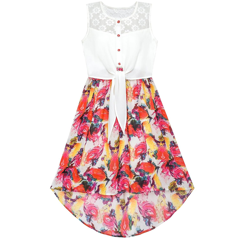 Girls Dress Lace To Chiffon Striped Black White Tied Waist Sunny Fashion CNUS0HD31-P