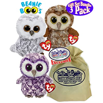 TY Beanie Boos Owls Percy, Moonlight & Owlette Gift Set Bundle with Bonus Matty's Toy Stop Storage Bag - 3 Pack: Toys & Games