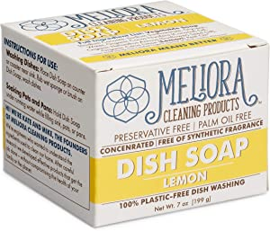 Meliora Cleaning Products Plastic-Free Dish Soap for Hand Washing, 7 Oz. (Lemon)