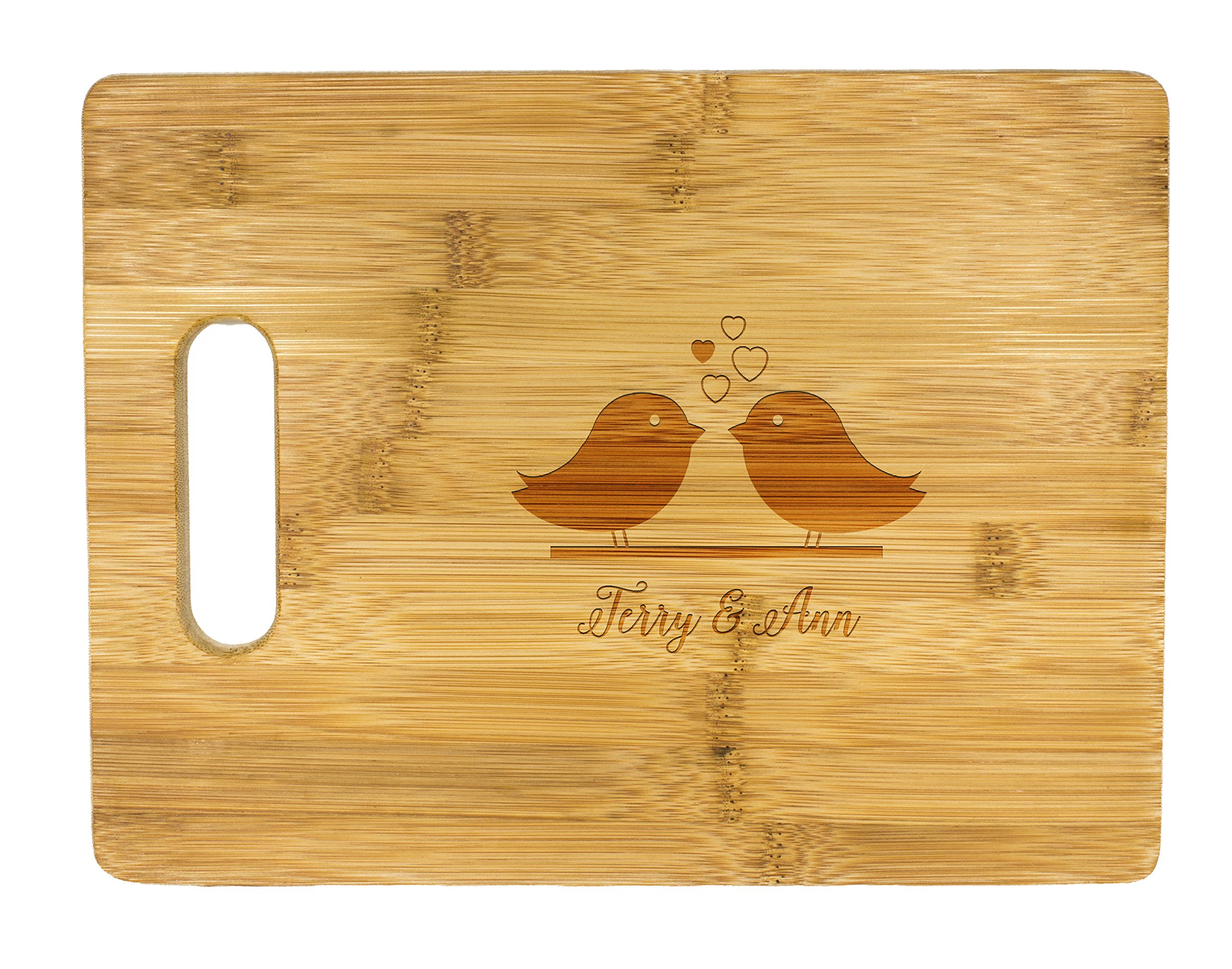 Personalized Cutting Board, Wedding Gift, Family Last Name Laser engraved cutting board ,Wedding Gift for couple, Kitchen decor (Love Birds)
