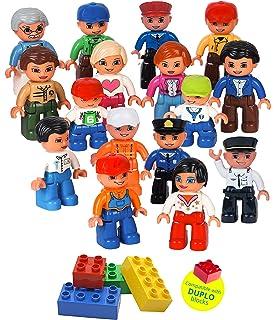 Community Figures Set Lego Duplo Compatible 16 Pieces By Lp Toys  Includes  Police Man,